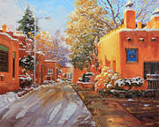 Adobe Buildings Prints - The winter beauty of Santa Fe Print by Gary Kim