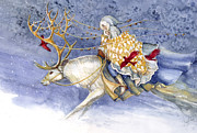 Watercolors Prints - The Winter Changeling Print by Janet Chui