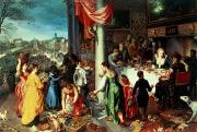 Drapery Painting Posters - The Winter Feast Poster by Hendrik van the Elder Balen