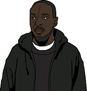 Tv Show Framed Prints - The Wires Omar Little Framed Print by Tomas Raul Calvo Sanchez