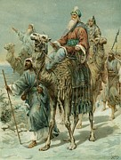Camels Posters - The Wise Men Seeking Jesus Poster by Ambrose Dudley