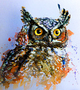Pink Flower Prints Painting Prints - The wise old owl Print by Steven Ponsford