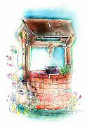 Gardens Mixed Media Acrylic Prints - The Wishing Well Acrylic Print by Arline Wagner