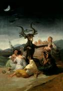 Moon Framed Prints - The Witches Sabbath Framed Print by Goya