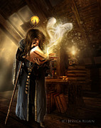 Fantasy Digital Art - The Wizard by Jessica Allain