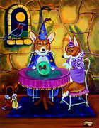 Corgis Framed Prints - The Wizard of Pembroke - Welsh Corgi Framed Print by Lyn Cook