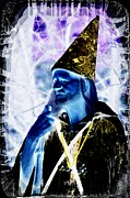 Merlin Digital Art Posters - The Wizard Poster by Rachel Katic