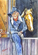 Rodeo Art Drawings - The Woeful Buckaroo and His Horse by Carol Wisniewski