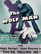 Wolfman Framed Prints - The Wolf Man, As The Wolf Man Lon Framed Print by Everett