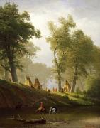 Native Americans Paintings - The Wolf River - Kansas by Albert Bierstadt