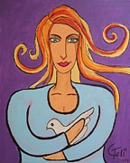 Claudia Tuli Metal Prints - The Woman And The Dove Of Peace Metal Print by Claudia Tuli