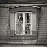 Women Framed Prints - The woman at the window 2 Framed Print by Philippe Taka