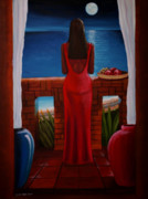 Woman In Water Painting Posters - The woman in red 2 Poster by Cynthia Bluford
