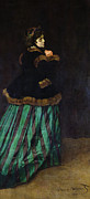 Portraiture Prints - The Woman in the Green Dress Print by Claude Monet