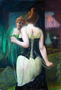 Mirror Paintings - The Woman in the mirror by Stefan Kuhn