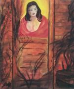 Mystery Pastels Posters - The Woman In The Window Poster by Nikki Gauthier
