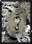 Motivational Art Mixed Media Prints - The woman through the Keyhole Print by Anahi DeCanio
