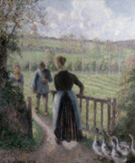 Fowl Painting Prints - The Woman with the Geese Print by Camille Pissarro