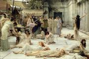 Columns Painting Metal Prints - The Women of Amphissa Metal Print by Sir Lawrence Alma-Tadema