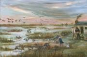 Waterfowl Paintings - The Wondrous Feathered Things of the Great Marsh by Vivan Robinson
