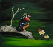Wood Duck Painting Posters - The Wood Duck And The Butterfly Poster by Dorothy Denmon