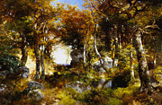 Grove Paintings - The Woodland Pool by Thomas Moran