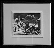 Original Lithographs Drawings - The Woodpile F.31 by Thomas Hart Benton