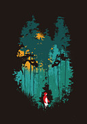 Red  Posters - The woods belong to me Poster by Budi Satria Kwan