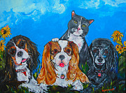Gray Cat Paintings - The Woof Gang by Patti Schermerhorn