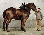 Animals Paintings - The Work Horse by Otto Bache