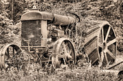Antique Tractors Prints - The Workhorse BW Print by JC Findley
