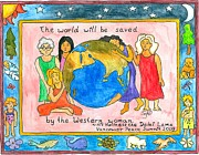 Action Drawings Framed Prints - The world will be saved by the Western woman Framed Print by Heart-Led Woman