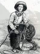 American West Drawings - The Wrangler by Karon Melillo DeVega