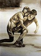 Wrestling Painting Originals - The Wrestlers - Graber Takedown by Pamela Vosseller