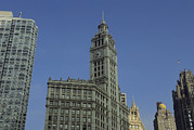 Timepieces Posters - The Wrigley Building Adorns The Chicago Poster by Joel Sartore