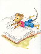 Mouse Drawings - The writing Mouse by Eva Ason