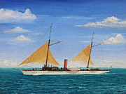 Liner Paintings - The Yacht Oneida by Brad Thomas