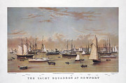Sailing Ships Mixed Media Posters - The Yacht Squadron At Newport Poster by Charles  shoup