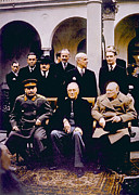 Franklin Delano Framed Prints - The Yalta Conference, Seated Joseph Framed Print by Everett