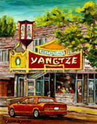 Streetscenes Paintings - The Yangtze Restaurant On Van Horne Avenue Montreal  by Carole Spandau