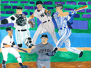 Yankees Mixed Media Framed Prints - The  Yankees Fab 5 Framed Print by Nat Solomon