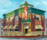 Building Painting Originals - The Yellow Brick Bank Restaurant by Lynne Reichhart