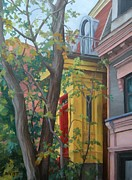 Residential Paintings - The Yellow Entry Ave Laval by Rita-Anne Piquet
