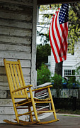 Red White And Blue Digital Art Prints - The Yellow Rocking Chair Print by AdSpice Studios