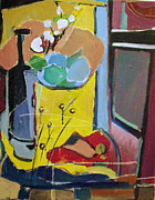Table Cloth Paintings - The yellow room by Joseph Mamos