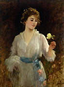 Victorian Costume Prints - The Yellow Rose Print by Sir Samuel Luke Fildes