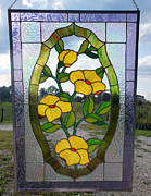 Floral Glass Art Metal Prints - The Yellow Roses Stained Glass Panel Metal Print by Arlene  Wright-Correll