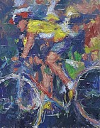 Lance  Armstrong Paintings - The Yellow Shirt by Robert Scott