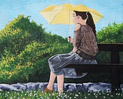 Quebec Paintings - The Yellow Umbrella by Reb Frost