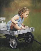 Toddler Portrait Paintings - The Young Explorer by Anna Bain